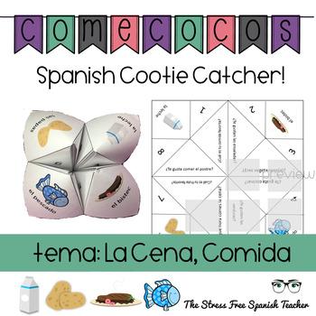 Spanish Fortune Teller Comecocos: GUSTAR + CENA food vocab