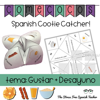 Spanish Fortune Teller GUSTAR + BREAKFAST WORDS Speaking Activity