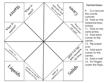 Cootie Catcher Study Tools: Sound and Matter