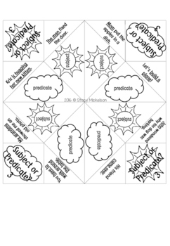 Cootie Catcher - Subject or Predicate ~NEW!~