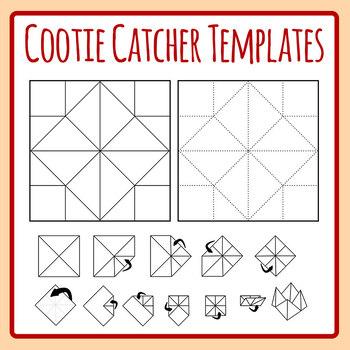 Cootie Catcher Template - Origami Fortune Teller Directions Clip Art Set