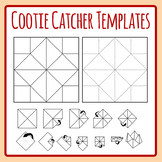 Cootie Catcher Template - Origami Fortune Teller Directions Clip Art Set