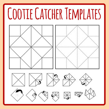 Cootie catcher template origami fortune teller directions clip art set maxwellsz