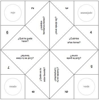 Fortune Teller Template | Fortune Teller Templates In Spanish By Spanishplans Tpt