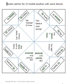 Cootie catchers bundle to practice /l/ in all positions