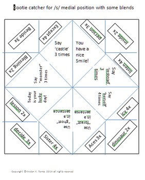 Cootie catchers bundle to practice /s/, /l/ and /r/ in all positions