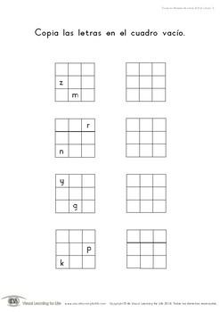 Copia los Bloques de Letras 3x3 (2 Letras)  (Habilidades de Percepción Visual)