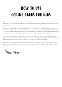 Coping Cards for Kids