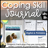 Coping Skill Journal & Tracker Counseling Activity