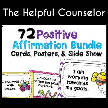 Coping Skills: Affirmations Bundle: 72 Cards, Posters & Slide Show