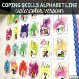 Coping Skills Alphabet Line and Mini-Book, Watercolor Version