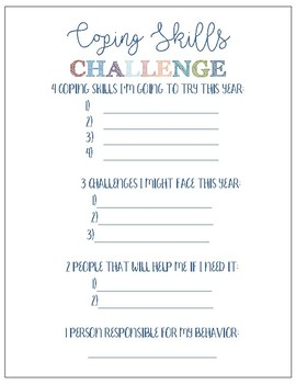Coping Skills Challenge Worksheet by Hanging with the Counselor | TpT
