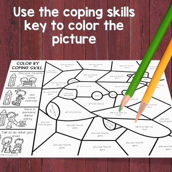 Coping Skills Color by Code: Calming Strategies Activity for School Counseling