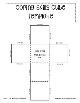 Coping skills cube template by the school counselor life tpt for 3 dimensional cube template