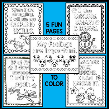 Feelings and Coping Skills Activities - Word Searches, Coloring, Word Scrambles
