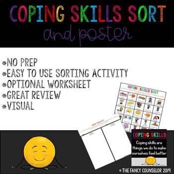 Coping Skills Poster, Sorting Activity, Sorting Worksheet