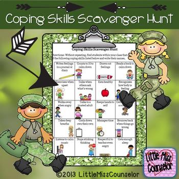 Coping Skills Scavenger Hunt worksheet PDF
