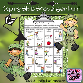 Coping Skills Scavenger Hunt worksheet PDF by Little Miss ...