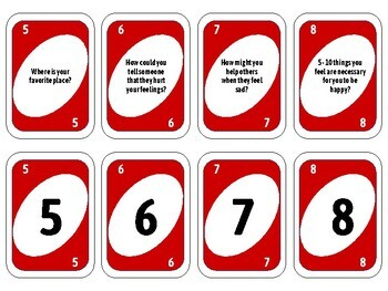 Coping Skills - UNO GAME CARDS