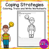 Self Regulation Coping Strategies Color, Trace and Write Sentences