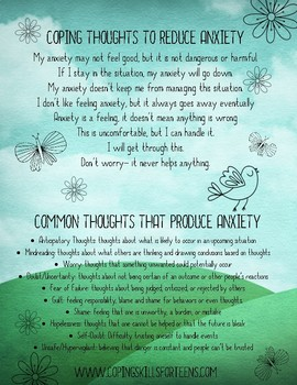 Coping Thoughts To Reduce Anxiety
