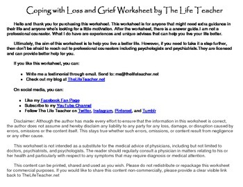 Coping With Loss And Grief Worksheet