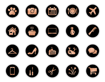 Copper & Black Instagram Icons, Copper Instagram Story Highlights