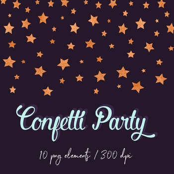 Copper Confetti Clipart, Copper Digital Confetti Borders, Copper Confetti Scraps