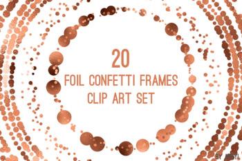 Copper Confetti Round Frames 20 PNG Clip Art 8in Foil Metallic