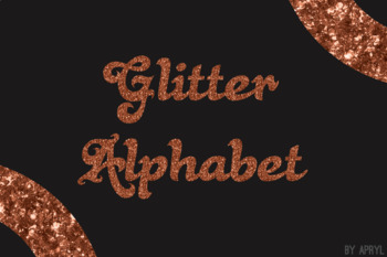 Copper Glitter Alphabet Clip Art Metallic Look 81 PNG Images Letters Numbers