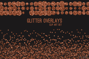 Copper Glitter Confetti Overlays 20 PNG Clip Art for 12x12 Papers