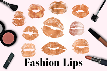 Copper Lips Clipart, Kissing Lips, Copper Lipstick Marks