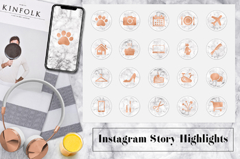 Copper & Marble Instagram Icons, Marble Instagram Story Highlights
