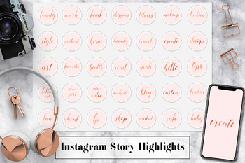 Copper & Pink Instagram Story Highlight Icons, Copper Hand Lettered Icons