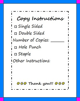 Copy Instructions Form