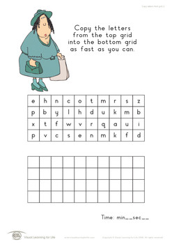 Copy Letters From Grid (Visual Perception Worksheets)