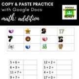 Copy & Paste Practice: Math - Addition (Google Version!)