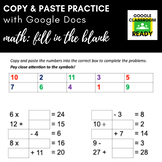 Copy & Paste Practice: Math - Fill in the Blank (Google Version!)