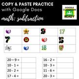 Copy & Paste Practice: Math - Subtraction (Google Version!)
