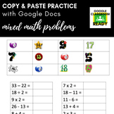 Copy & Paste Practice: Mixed Math Problems (Google Version!)