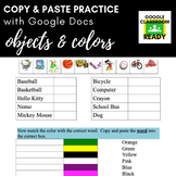Copy & Paste Practice: Objects & Colors (Google Version!)