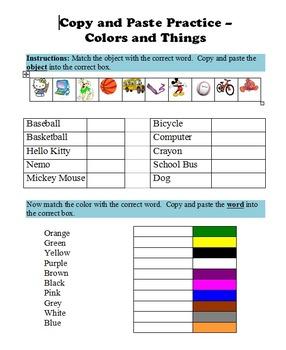 Copy & Paste Practice in Microsoft Word - Colors & Things