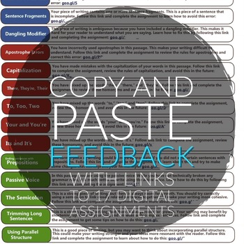 Copy and Paste Writing Feedback - 17 assignments - research, revise ELA 7-12