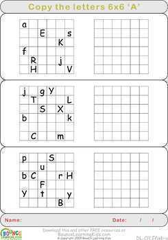 Copy letters (12 worksheets for Hand-eye coordination)
