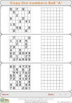 Copy numbers (12 distance learning worksheets for Hand-eye coordination)
