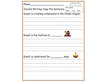 Copy the Sentence Bundle _  Winter Holidays_ Diwali