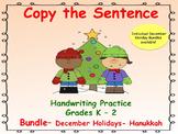 Copy the Sentence Bundle _  Winter Holidays_ Hanukkah