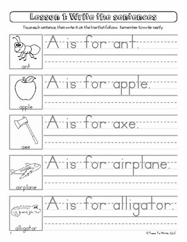 Copy the Sentence: Manuscript Alphabet Handwriting Penmanship Workbook