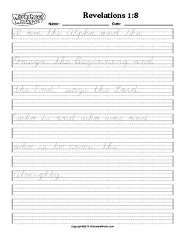 Copy work Handwriting Practice Revelations 1:8