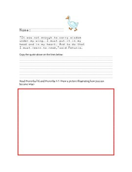 Copy work Petunia by Roger Duvoisin; wisdom scripture